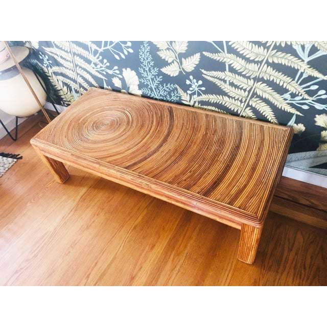 Boho Chic Vintage Split Reed Bamboo Coffee Table For Sale - Image 3 of 11