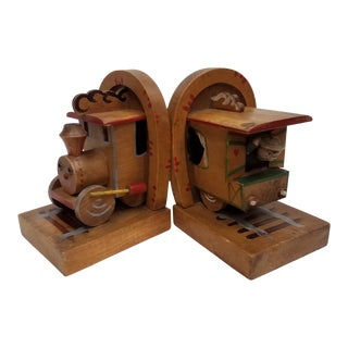 English Vintage Children's Train Bookends - a Pair For Sale