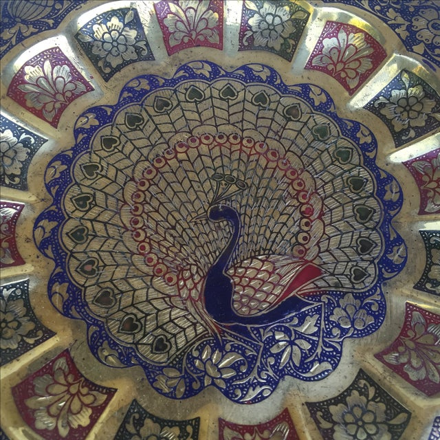 Vintage Indian Peacock Plate Tray For Sale - Image 4 of 7