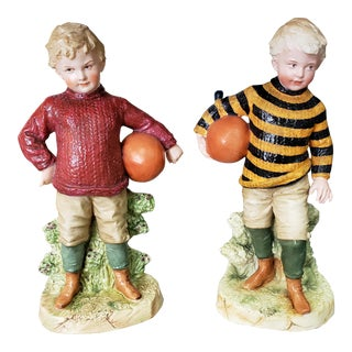 Late 19th Century German Gebruder Heubach Bisque Young Boy Football Player Figurines - a Pair For Sale