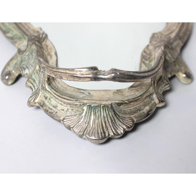 Late 19th Century Antique French Louis XVI Silver Mirrored Plateau For Sale - Image 5 of 6