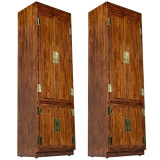 1970s Campaign Henredon Wardrobe - A Pair For Sale