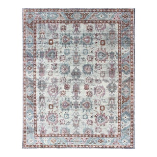 Multi-Colored Transitional Design Distressed Rug in Ivory, Blue, Lavender For Sale