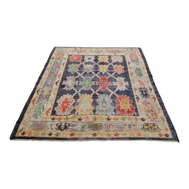 "Modern Turkish 'Miquel' Oushak Rug- 5'7"" x 7' 6"" For Sale"