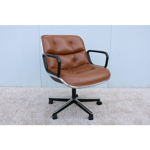 Mid-Century Modern Brown Leather Knoll Pollock Executive Chair For Sale - Image 3 of 13