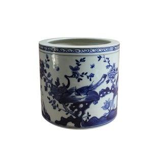 Chinese Blue & White Porcelain Flower Bird Scenery Brush Holder Pot