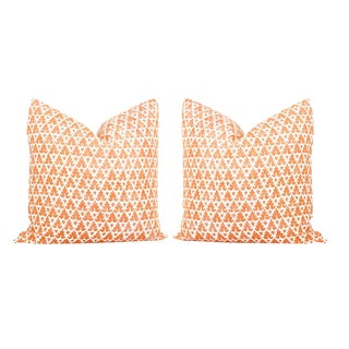 Orange Quadrille Volpi Pillows - a Pair