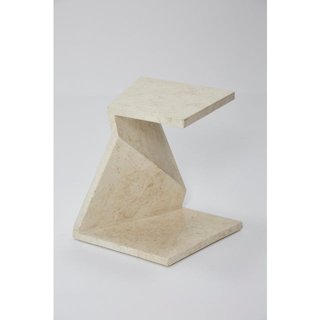 1990s Zig Zag Side Tables or Coffee Table in Tessellated White Stone, 1990s - a Pair For Sale - Image 5 of 13