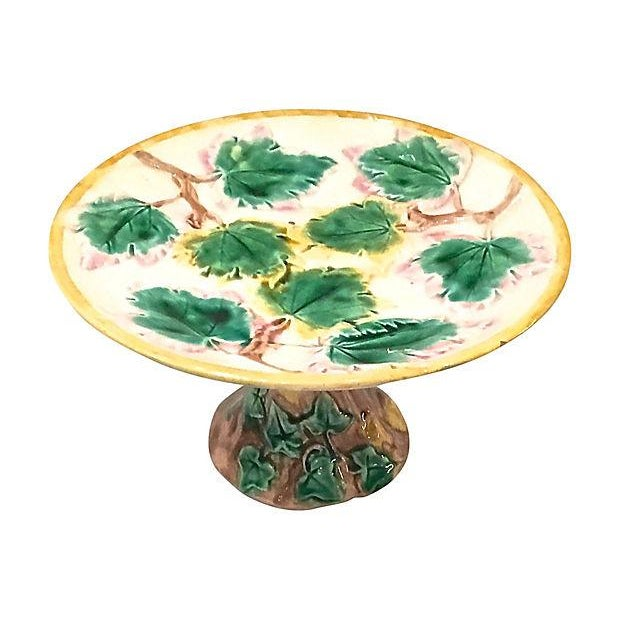 Ceramic Antique Majolica Leaf Compote Dish For Sale - Image 7 of 7