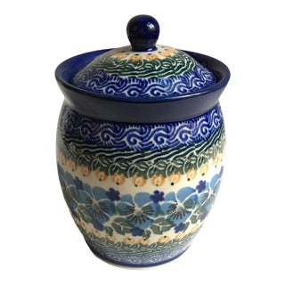 Maria Starzyk Colorful Hand Painted Lidded Ceramic Jar For Sale