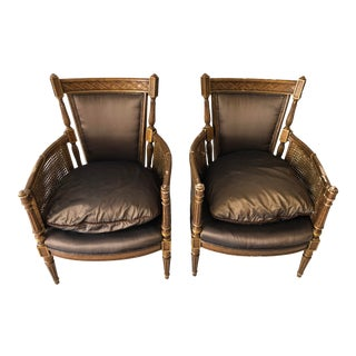 Hollywood Regency French Style a Pair Cane Arm Chairs For Sale