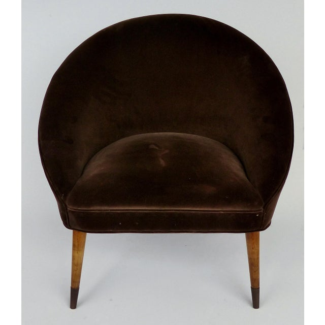 Offered for sale is a pair of very stylish Mid-century Modern brown velvet club chairs with tapered and splayed wooden...