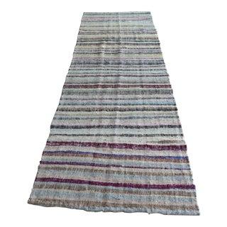 Vintage Striped Turkish Chaput Kilim 3′10″ × 10′9″ For Sale