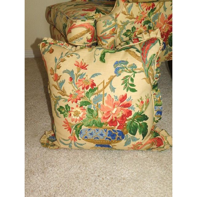 Queen Anne Style Floral Upholstered Wing-Backed Chairs - a Pair For Sale - Image 9 of 13