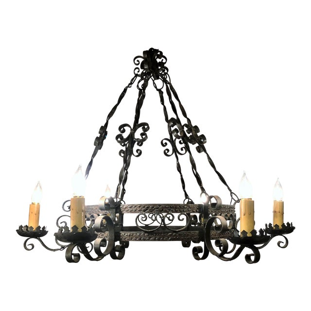 Antique Late 19th Century Wrought Iron 6 Light Fixture For Sale
