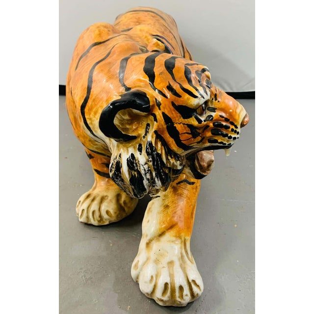 Midcentury Italian Terracotta Tiger Statue or Sculpture For Sale - Image 10 of 12
