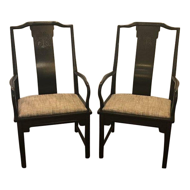 Mid-Century Modern Asian Style Armchairs - a Pair For Sale