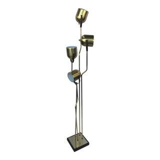 1970s Brass Pivoting Four Head Floor Lamp by Goffredo Reggiani For Sale