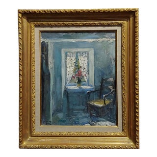 "1920s French Oil Painting ""Chair by the Window"" by Paul Charavel For Sale"