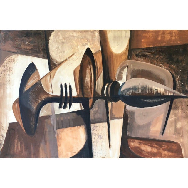 Vintage 1960s Abstract Cubist Shapes Oil Painting For Sale - Image 10 of 10