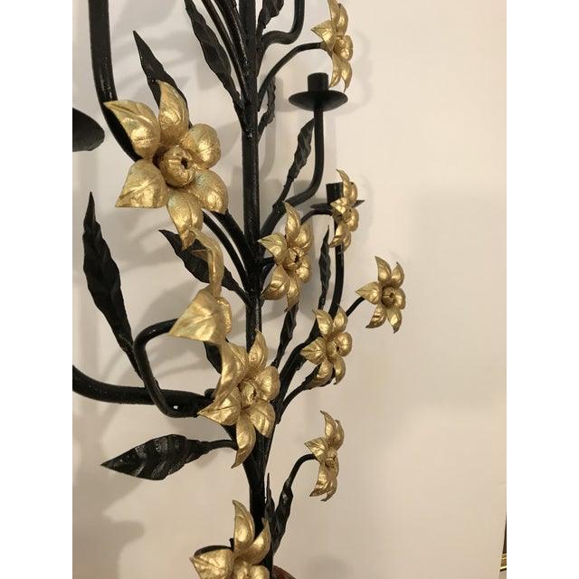 Concrete Antique Italian Floral Candelabra Displayed on a Concrete Urn For Sale - Image 7 of 12