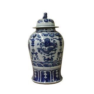Chinese Blue & White Scenery Porcelain Large Temple General Jar For Sale