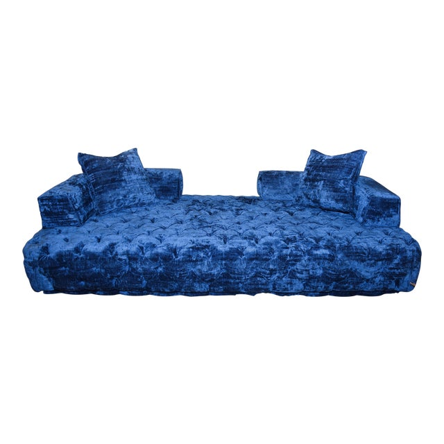 Contemporary Crushed Blue Velvet Tufted Sofa For Sale