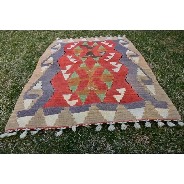 Turkish Traditional Handwoven Anatolian Nomadic Rustic Style Oushak Kilim Rug For Sale In Sacramento - Image 6 of 13