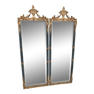 Hollywood Regency Gold and Teal Urn Draped Carved Mirrors-Pair For Sale