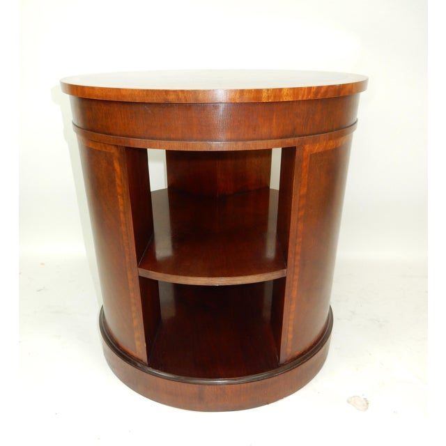 Baker Furniture Inlaid Banded Mahogany Drum Shaped Book Case For Sale - Image 10 of 13