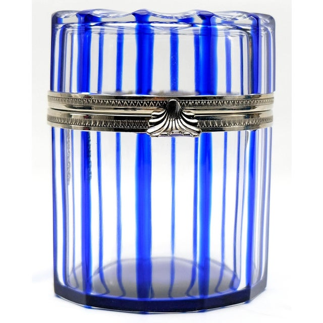 Cobalt Blue and Cut Crystal Lidded Box by Cristal Benito, France For Sale - Image 9 of 9