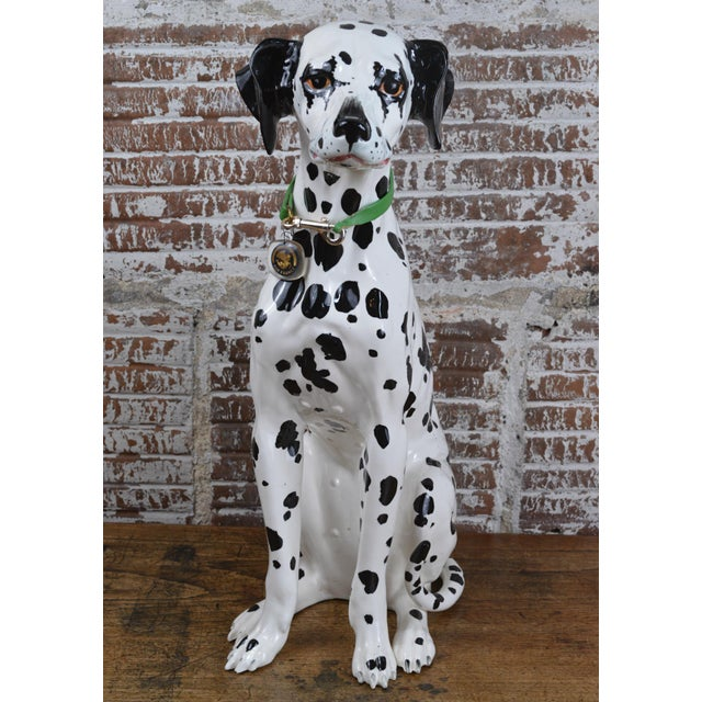 Fabulous vintage 1960s ceramic Dalmatian dog figure. She came to us wearing a green collar with an Air France charm-- and...