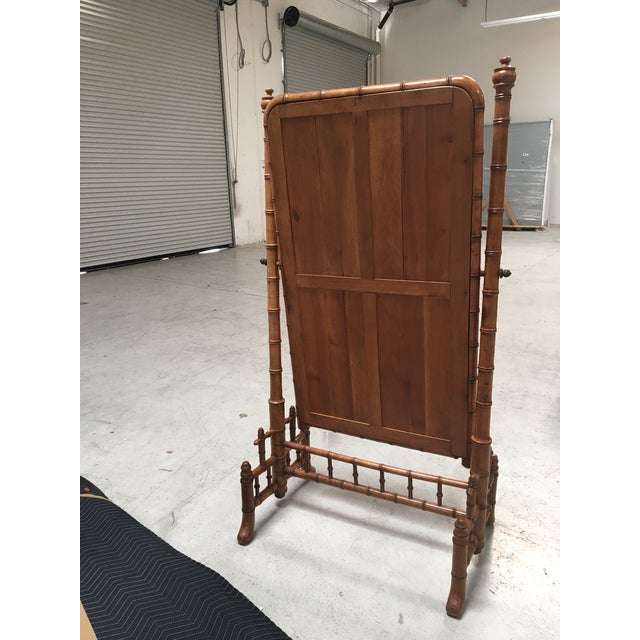 """Bamboo English Antique Faux Bamboo Cheval """"Psyche"""" Mirror For Sale - Image 7 of 7"""