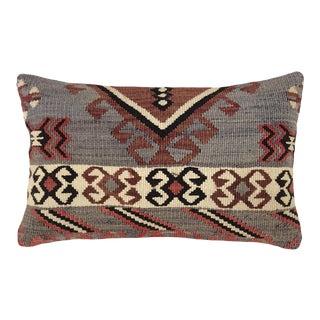 "Muted Mauve Kilim Lumbar Pillow   12"" X 20"" For Sale"