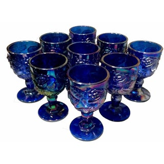 Fenton Cobalt Carnival Glass Goblets - Set of 9