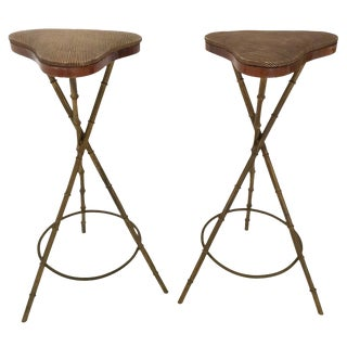 Pair of Faux Bamboo Bar Stools For Sale