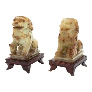 Apple Green Jade Foo Dogs on Rosewood Stands- a Pair, Chinoiserie Mid Century Modern Style For Sale
