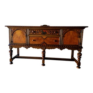 1920s Berkey and Gay Jacobean Revival Sideboard With a Key For Sale