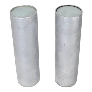 Mid-Century Modern Round Cylinder Lighted Pedestals Stands - a Pair For Sale