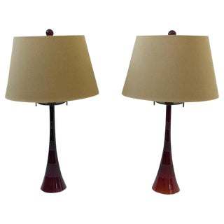 Italian Ruby Red Murano Glass and Brass Table Lamps by Donghia - a Pair For Sale