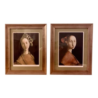1970s Prints by Romanian Artist Mazilu in Silverleafed Frames - a Pair For Sale