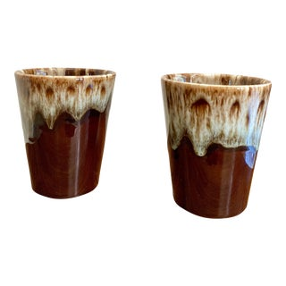 1960 Mid-Century Canonsburg Ironstone Drip Glaze Pottery Juice Glasses - a Pair For Sale