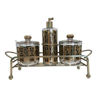 """Vintage Black and Gold """"Onions Olives and Vermouth"""" Cocktail Set in Caddy - 4 Pc. Set"""