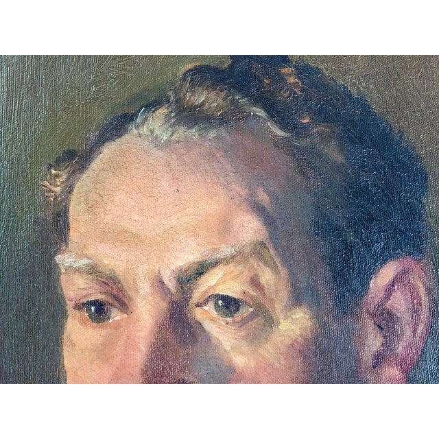 1940s Vintage Portrait of a Man in White Shirt Oil on Canvas Painting For Sale - Image 11 of 12