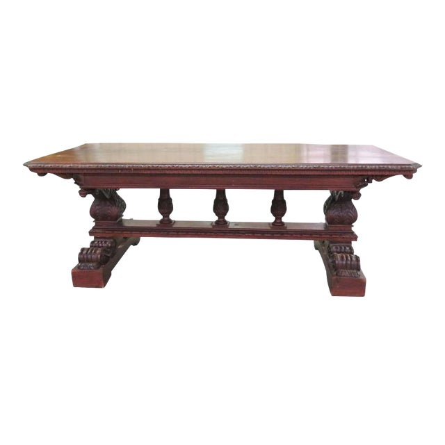 19th Century Carved Walnut Dining Table For Sale