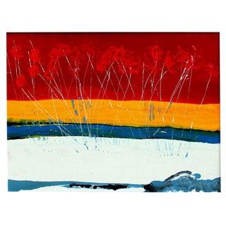 Large Vintage Expressionist Landscape Painting Signed Enamel on Board For Sale