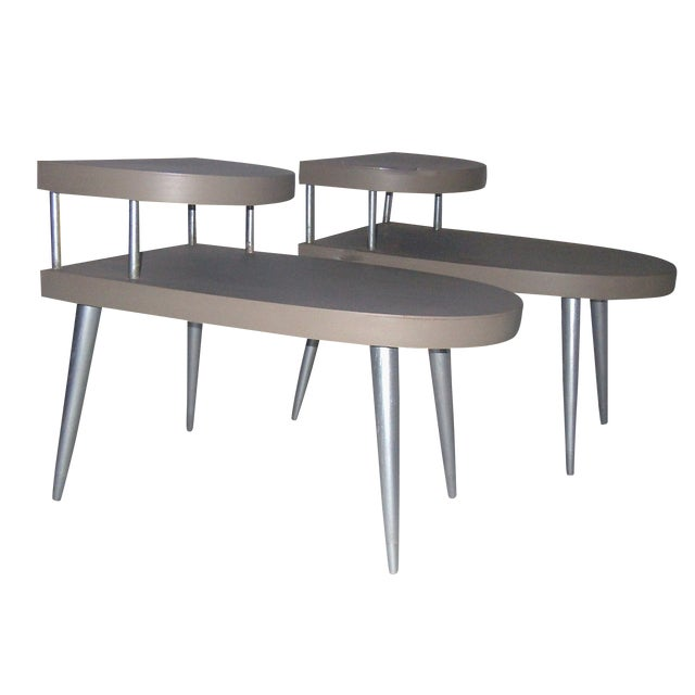 Mid-Century Two-Tiered Side Tables - A Pair - Image 1 of 8