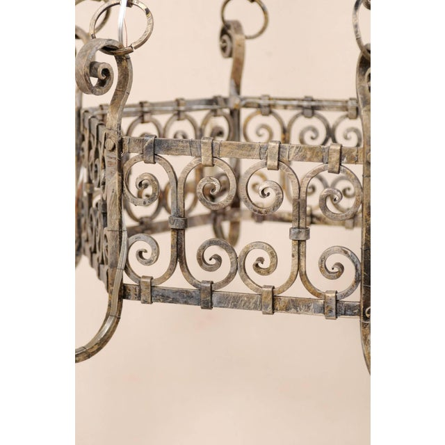 French Midcentury Six-Light Iron Chandelier With Lovely Scrolling Pattern For Sale - Image 9 of 11
