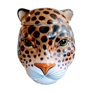 Italian Leopard Face Ceramic Mid Century Modern Palm Regency Cookie Jar Statue