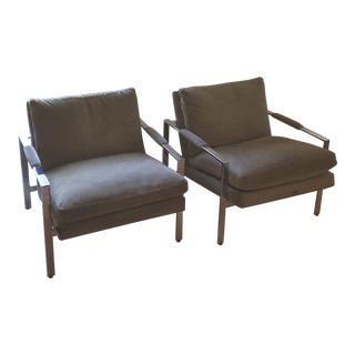 Mid Century Modern Milo Baughman Chrome and Ultrasuede Armchairs - a Pair For Sale